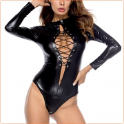 Alluring Patent Leather Front Hollowed-out One Piece Suit