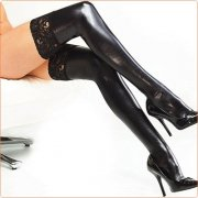 Black Lace Trim Leather Hot Stockings For Women