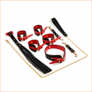 Black & Red PU Bondage Kit
