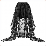 New Arrived Sexy Organza Flock Printing Semi Skirt